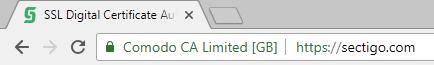EV certifikát v Chrome - zelený řádek.