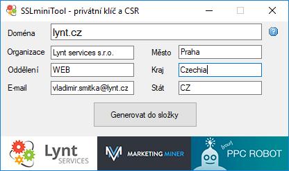 Nástroj pro generování CSR od Lynt.cz.