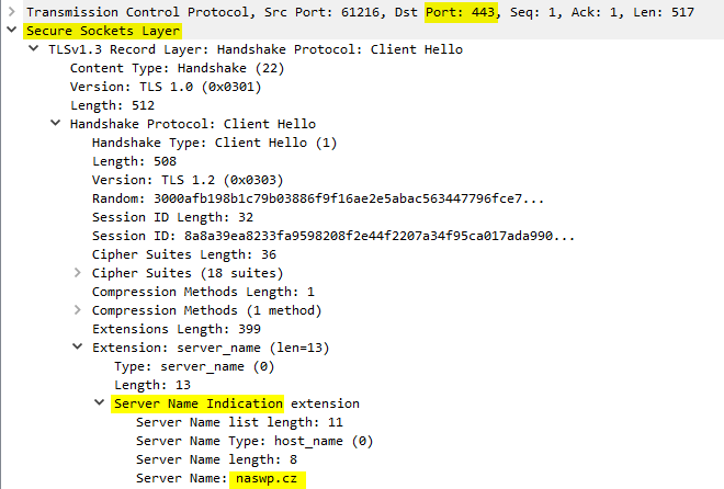Odposlech HTTPS - SNI.